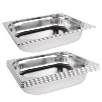 Harga Parisian Stainless Steel 1/2- 65 mm H- Half Size ProfessionalGastronorm Pan / Gastronorm Container / Hotel Pan / Food Pan / FoodContainer / GN Pan / GN Container Set of 4