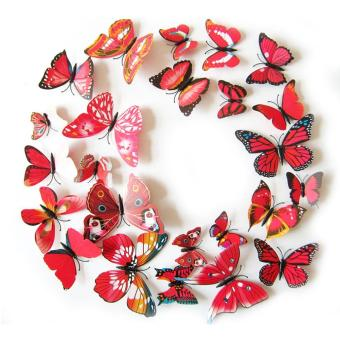 12PCS 3D PVC Magnet Butterflies DIY Wall Sticker Home Decor Red Price Philippines