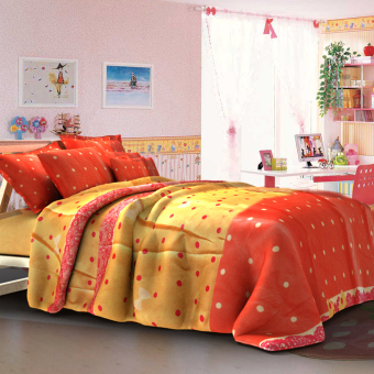 Harga Linen Essentials Polka Bedding 3-piece Set (Multicolor)