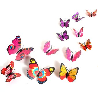 3D Butterfly Sticker Art Creative Butterflie Design Decal Wall Stickers Home Decor Room Wall Sticker Decorations(Red) Price Philippines