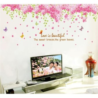 Butterflies Pink Flowers Green Leaves English Letters Wall DecalPVC Home Sticker House Vinyl Paper Decoration WallPaper Living RoomBedroom Kitchen Art Picture DIY Murals Girls Boys kids Nursery BabyPlayroom Decor Price Philippines