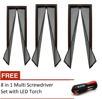 Harga Magic Mesh Instant Screen Door (Black) set of 3 with free 8 in 1 Multi Screwdriver with LED Torch