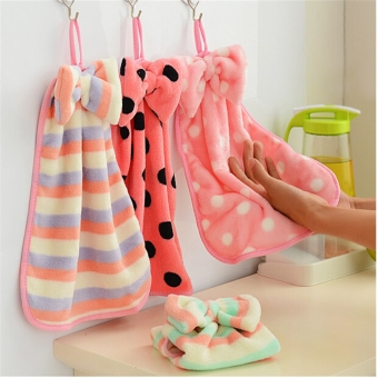 Cute Bow Candy Color Soft Coral Velvet Wash Bath Tool Cleaning Hand Towels U150 Price Philippines