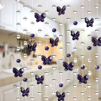 Harga Moonar 1 Meter Elegant Waterdrop&Butterfly Shaped Artificial Crystal Beads Curtain Decor Pendant Drapes (Violet) - intl