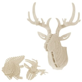 3D Puzzle Wooden DIY Model Wall Hanging deer Head wood gift craft Home decoration White Price Philippines