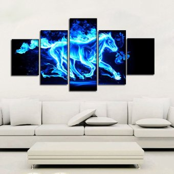 5 Panel Blue Flame Abstract Art Horse Painting Home Decoration Wall Art Canvas Unframed Painting - Intl Price Philippines
