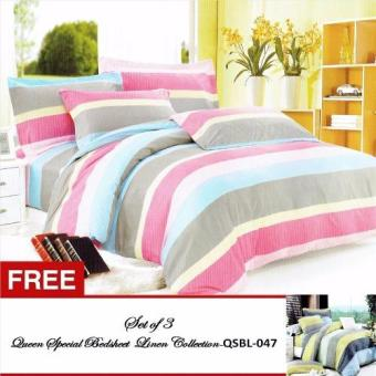 Harga Queen Special Linen Collection Bedsheet Set of 3(QSBL-030)Queen with free Queen Special Linen Collection Bedsheet Set of 3(QSBL-047) Queen