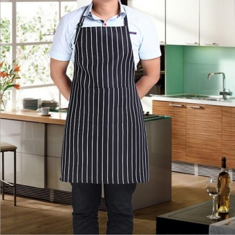 Bib Apron with 2 Pockets Chef Waiter BBQ Restaurant Home Kitchen Cooking Apron Tool Black White Stripe - intl Price Philippines