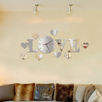 GETEK Mirror Effect Home Decoration Art DIY Letters Stickers Wall Clock (Silver) Price Philippines