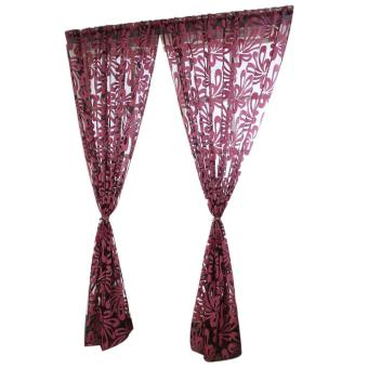 2pcs Leaf Tulle Door Window Curtain Drape Panel Sheer Scarf Valances Red - intl Price Philippines