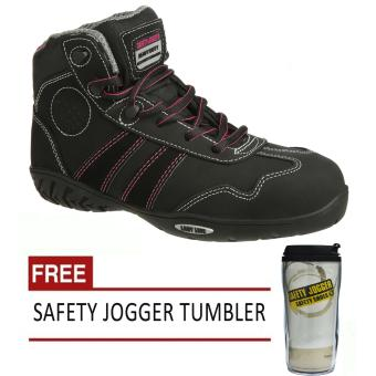 Safety Jogger Isis S3 High Cut Women Safety Shoes Footwear Composite Toe (Black/Pink) with Free Safety Jogger Tumbler Price Philippines