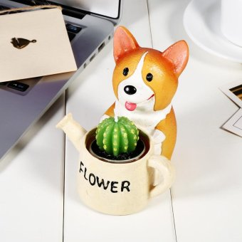 Harga Cute Animal Shaped Flower Bonsai Pots Home Decoration(Corgi Hold Pot) - intl