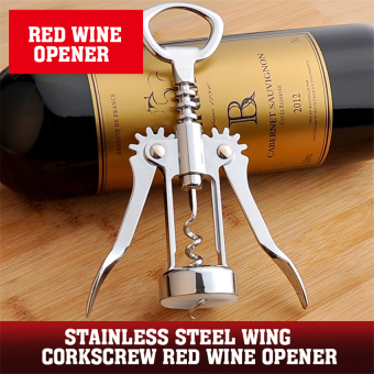 Harga 2016 Best Quality Stainless Steel Wing Corkscrew Red Wine Opener (silver)