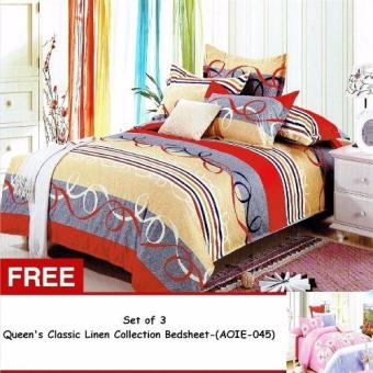Harga Queen Classic Linen Collection Bedsheet Set of 3 (AOIE-040)Queen with Free Queen Classic Linen Collection Bedsheet Set of 3 (AOIE-045)Queen