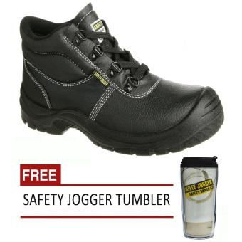 Safety Jogger Safetyboy S1P High Cut Men Safety Shoes Footwear Steel Toe (Black) with Free Safety Jogger Tumbler Price Philippines