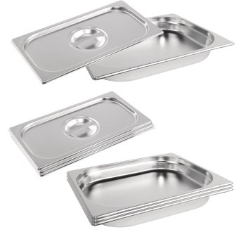 Harga Parisian Stainless Steel 1/2- 40 mm H- Half Size ProfessionalGastronorm Pan / Gastronorm Container / Hotel Pan / Food Pan / FoodContainer / GN Pan / GN Container with Lid / Cover Set of 4