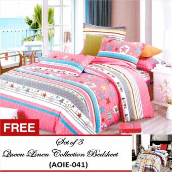 Harga Queen Classic Linen Collection Bedsheet Set of 3(AOIE-053)Queen with Free Queen Classic Linen Collection Bedsheet Set of 3(AOIE-041)Queen