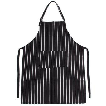 LALANG Adults Stripe Bib Apron with 2 Pockets (Black / White) Price Philippines