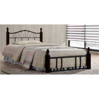 Harga EQ36 Wooden Post Bed (Brown/Black)