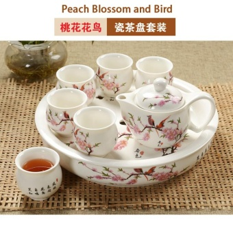 RuYiYu - China Ceramic Chinese Porcelain Kung Fu Whole Set of Tea Sets, Double-layer Teacup, Ceramic Tea Pot and 12 Inch Big Tea Tray, 8-pack (Peach Blossom and Bird) - intl Price Philippines