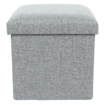 Harga EOZY Foldable Storage Fabric Foot Stool Seat Footrest Folding Storage Box Creative Home Furniture (Grey)