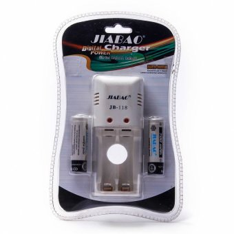 Harga wawawei Jiabao JB-118 Battery Charger (White) With 2pcs 600mAh Rechargeable Battery