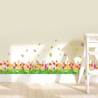 Yika Removable Tulip Flowers and Butterflies Home DIY Wall Stickers (Multicolor) Price Philippines