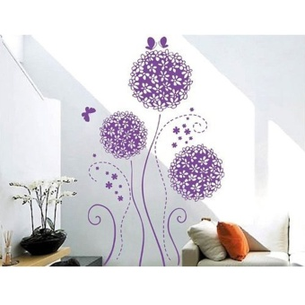 LT365 Beautiful Flower Balls and Butterflies Removable Wall Stickers Purple Price Philippines