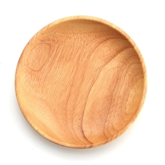 12CM Round Wooden Plate Breakfast Food Snack Serving Tray Salad Bowl Platter Wood - intl Price Philippines