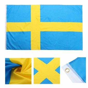 3x5FT Large Sweden Swedish Flag Polyester National Banner With Mental Grommets - intl Price Philippines