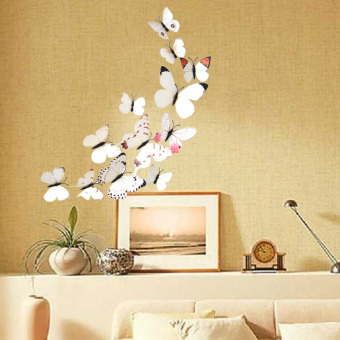 12PCS 3D PVC Magnet Butterflies DIY Wall Sticker Home Decor(White Series) Price Philippines
