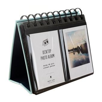 Harga Mini Portable 68 Pockets Desk Calendar Photos Album Weddings Anniversary Graduations Baby Valentine Day Mother Day Gift for Polaroid 3inches Pictures Business Cards Blue - intl