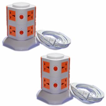 Harga 2-Layer Vertical Secure Socket (White/Orange) Set of 2