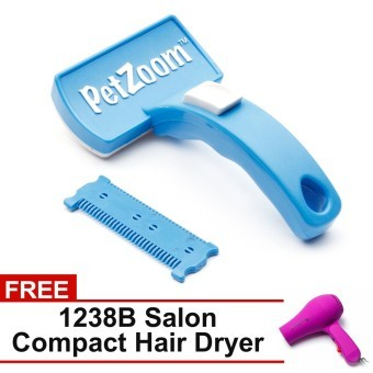 Harga Pet Zoom Self Cleaning Grooming Pet Brush (Blue) with FREE 1238B Salon Compact Hair Dryer