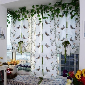 Harga Embroidered Butterfly Tulle Finished Product Window Screens Curtain White