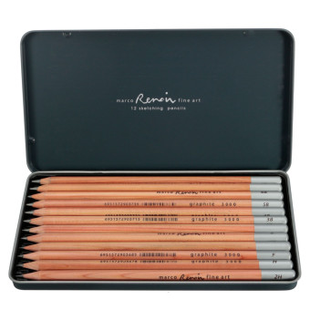 Autoleader 12pcs Marco Renoir Fine Art Grayscale Sketching Writing Non-toxic Pencils Tin Price Philippines