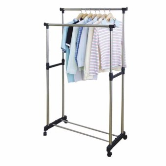 Harga JAV Double Pole Stainless Steel Clothes Rack