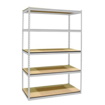 Harga Longlife™ 5 Layer/4 Tier Boltless Adjustable Rack with Slotted Posts & Laminated Wooden Shelving, Convertible to Work Bench (OFF WHITE)