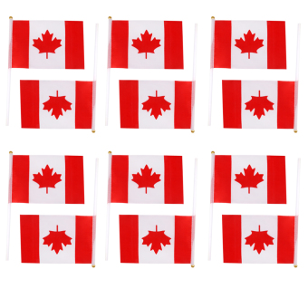 Canada Hand Waving Flag Canadian Maple Leaf National Flags with Poles 12Pcs Price Philippines