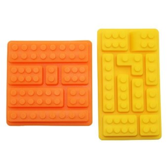 Harga Building Bricks Candy Mold Pan, Jelly&ice Cube Tray Silicone - Makes Brick, Candy, Chocolate, Birthday Party Favor, Jello, Soap and Crayons, Silicone Mold for Lego Lovers (Yellow&orange)