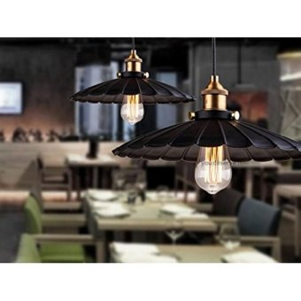 Edison Vintage Style Industrial Light Loft Retro Nostalgia Chandelier Lamp Cafe-bar Restaurant LED Black Lotus Umbrella Pendant Lamp 9.84'' (Bulb Not Included) - intl Price Philippines