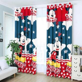 Harga StevenShop 2pcs Animated Cotton Curtain Mickey Mouse Design