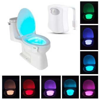 Harga 8-Color LED Motion Sensing Automatic Toilet Bowl Night Light - intl
