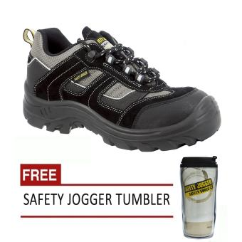 Safety Jogger Jumper S3 Low Cut Men Safety Shoes Footwear Steel Toe (Black/Gray) with Free Safety Jogger Tumbler Price Philippines