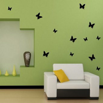 DIY Stickers 12 PCs 3d Butterfly pvc wall stickers butterflies docors Arts/diy paper decorations(Black) Price Philippines
