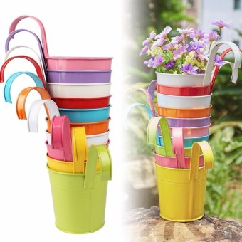 Harga 10pcs Flower Pots with Removable Handle Pot Plant Hanging 10 Colors Pots Flower Metal Iron Balcony Garden Home Decoration - intl