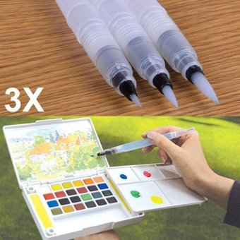 Harga YBC 3Pcs Refillable Ink Color Pen Water Brush Painting Pen Office Stationery(S+M+L) - intl