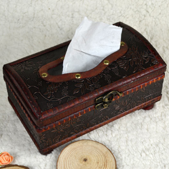 Harga 1Pc 21*12*11CM Elegant Crafted Wooden Antique Handmade Old Tissue Box Antique Tissue Box - intl
