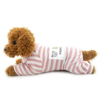 Stripe Outfits for Small Dog Pet Cotton Pajamas Doggie Jumpsuit Yorkie Clothes Pink M - intl Price Philippines