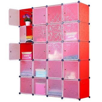 Harga D&D JH-DIY20 Cells DIY Storage Cabinet Magic Piece Free Combination(Red)